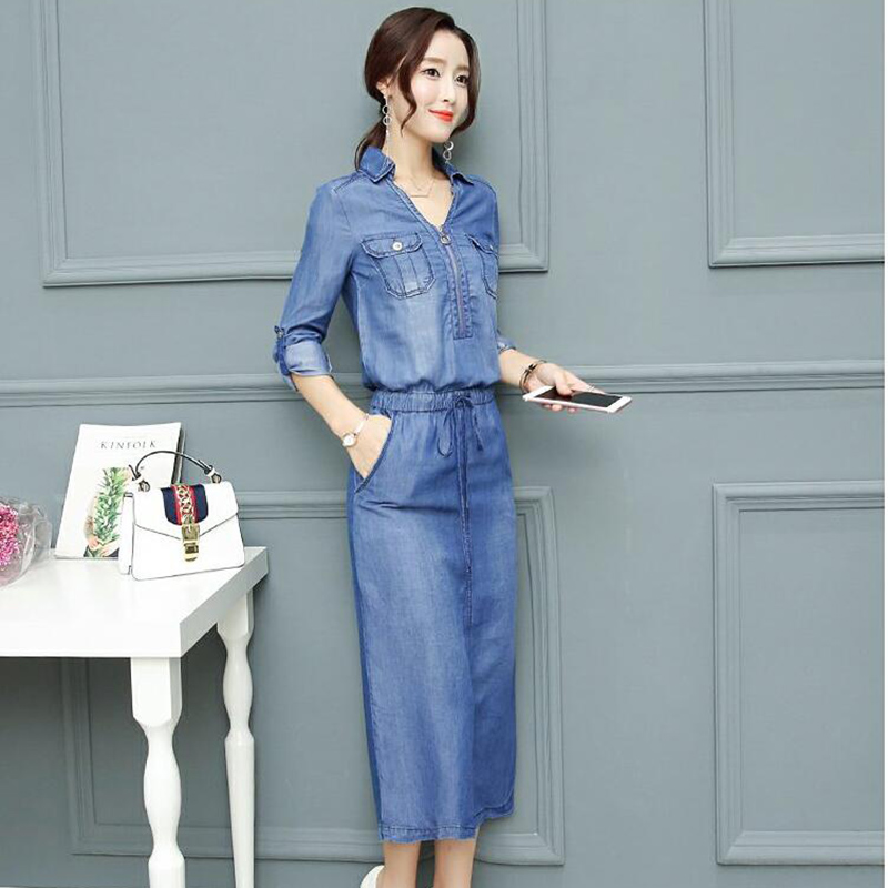 3dedd0e3daac7a New Korean version woman's Tencel Jeans Dress V neck Waist Lace Casual Slim Midi  Dress Elastic Waist Feminine Sexy Slender Dress-in Dresses from Women's ...