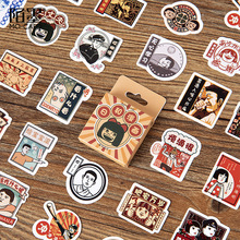 цена на Vintage Japanese Cartoon Paper Small Diary Mini Cute Box Stickers Set Scrapbooking Kawaii Flakes Journal Stationery