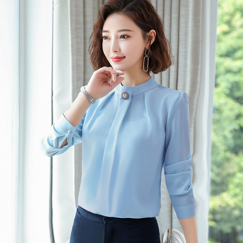 Image 4 - Elegant shirt women 2019 Autumn New long sleeve stand collar temperament chiffon blouse office ladies plus size topsBlouses & Shirts   -
