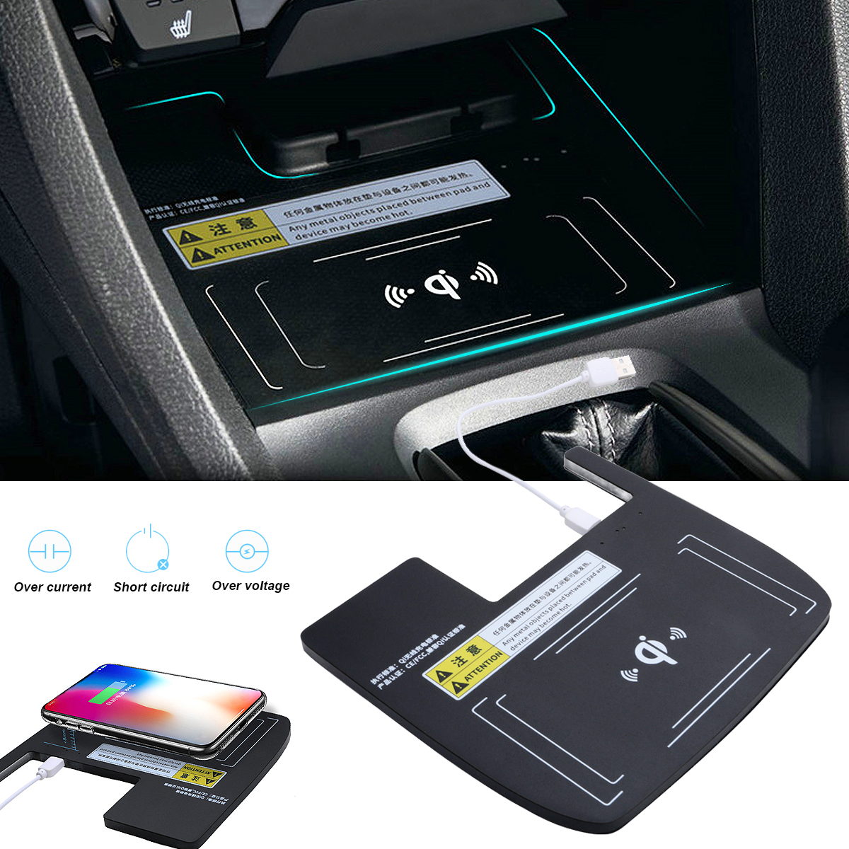 Console Storage Box Qi Wireless Charger For Honda For Civic 10th 2016-2018 Portable Auto Phone Charging Holder Car Electronics