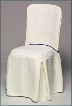 standard square top banquet poly visa chair cover with 2 pleats on