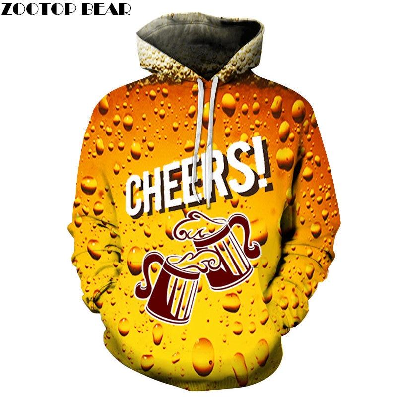 Newest Design Fashion Brand Men Sweatshirts Streetwears Beer Pullover 2019 Couple Casual Hoodies 3D print Drop Shop ZOOTOPBEAR