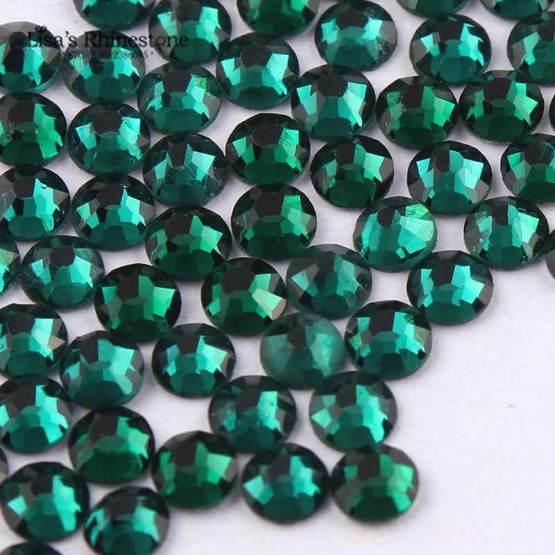SS3-SS34 Emerald สีเขียวเล็บ Art Rhinestones Flatback Non HotFix กาวบน Rhinestone สำหรับ DIY Nail Art, เครื่องประดับตกแต่ง