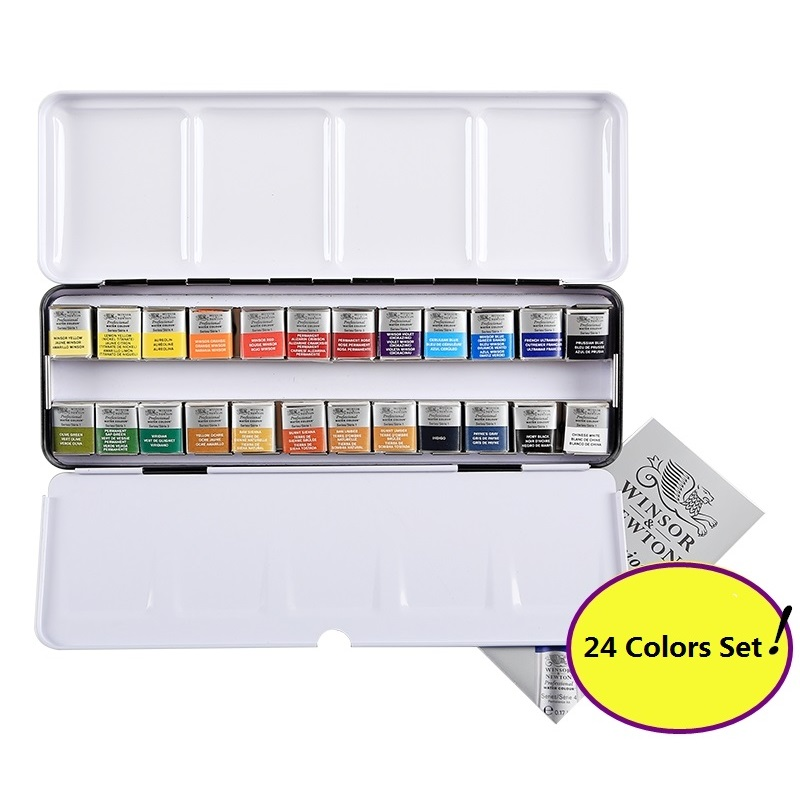 WINSOR&NEWTON 12/24 colors Professional Senior painter artist Solid Watercolor Pigment made in FranceWINSOR&NEWTON 12/24 colors Professional Senior painter artist Solid Watercolor Pigment made in France