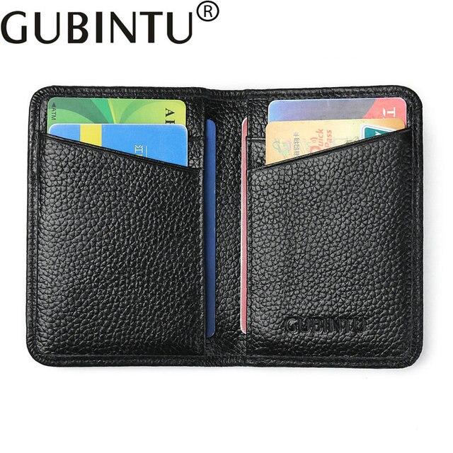 573cb24949d612 RFID Genuino Supporto di Carta di Credito In Pelle per Uomo e Donne del  Cuoio Genuino