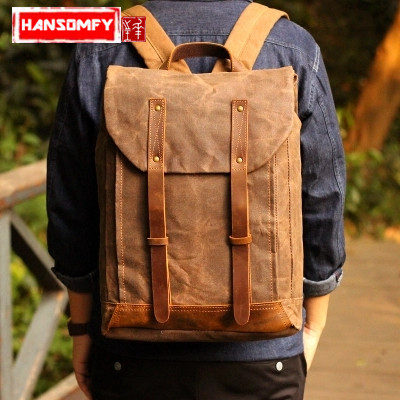 Oil wax canvas Retro men shoulder bag personality men's ' s inch laptop backpack canvas with Crazy Horse leather computer B