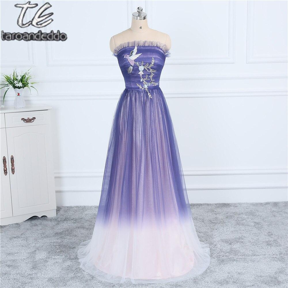 WEB nouveau matériel Ombre Tulle violet clair longue robe de bal avec Applique robe de soirée mignonne robes de soirée formelles