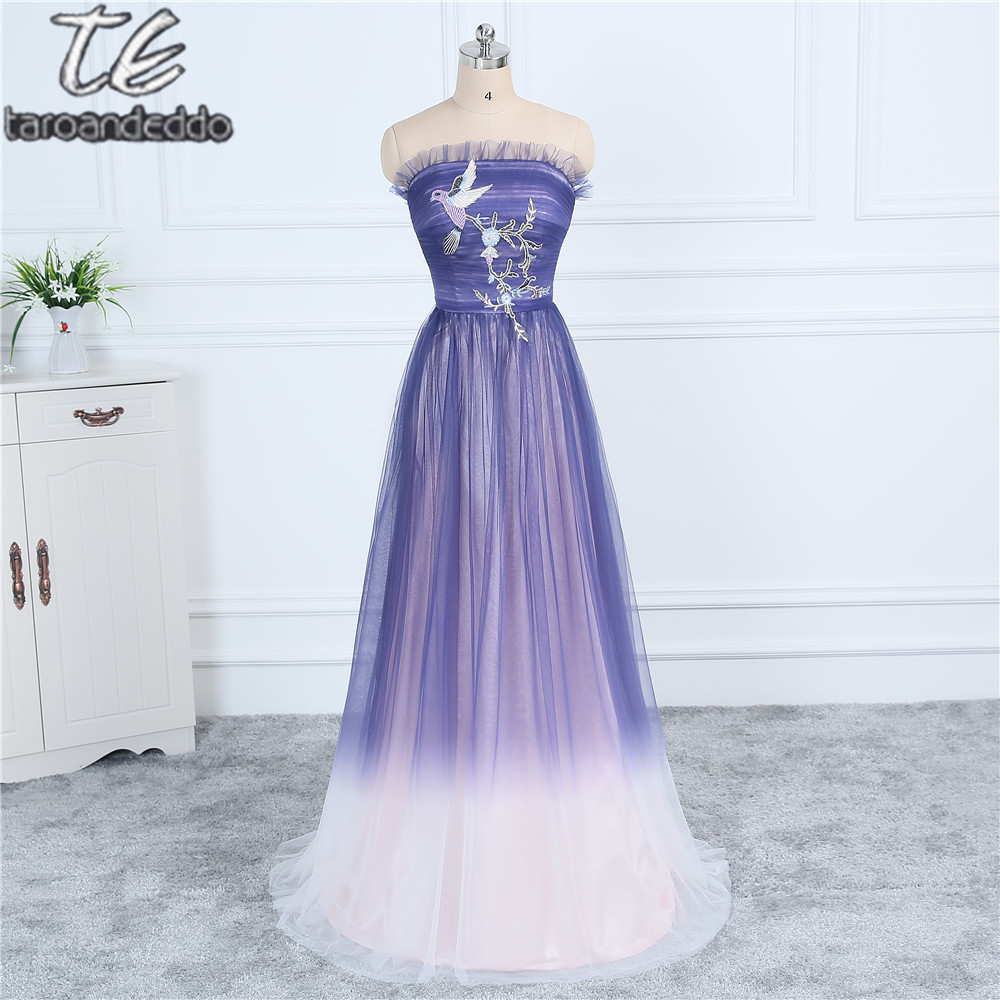 WEB New Material Ombre Tulle Light Purple Long Fade   Prom     Dress   with Applique Cute Evening   Dress   Formal Party Gowns