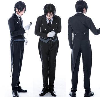 Anime Black Butler Sebastian Michaelis Cosplay Costume Black Uniform Outfit+Pocket Watch+Brooch Halloween Costumes for Women/Men 1