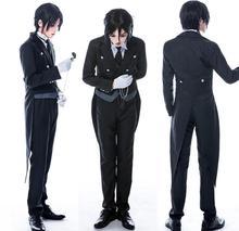 Anime Black Butler Sebastian Michaelis Cosplay Costume Uniform Outfit+Pocket Watch+Brooch Halloween Costumes for Women/Men