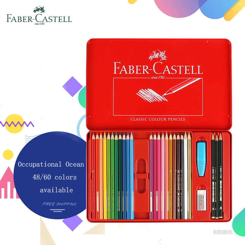 FABER-CASTELL 48/60 Professional Colored Oily Color Pencils School Art Supplies set Water-Soluble Colored Pencils For Painting faber orizzonte eg8 x a 60 active