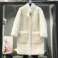 New Zealand wool natural fur coat winter warm sheep shears Icelandic sheepskin one long section long sleeved dress