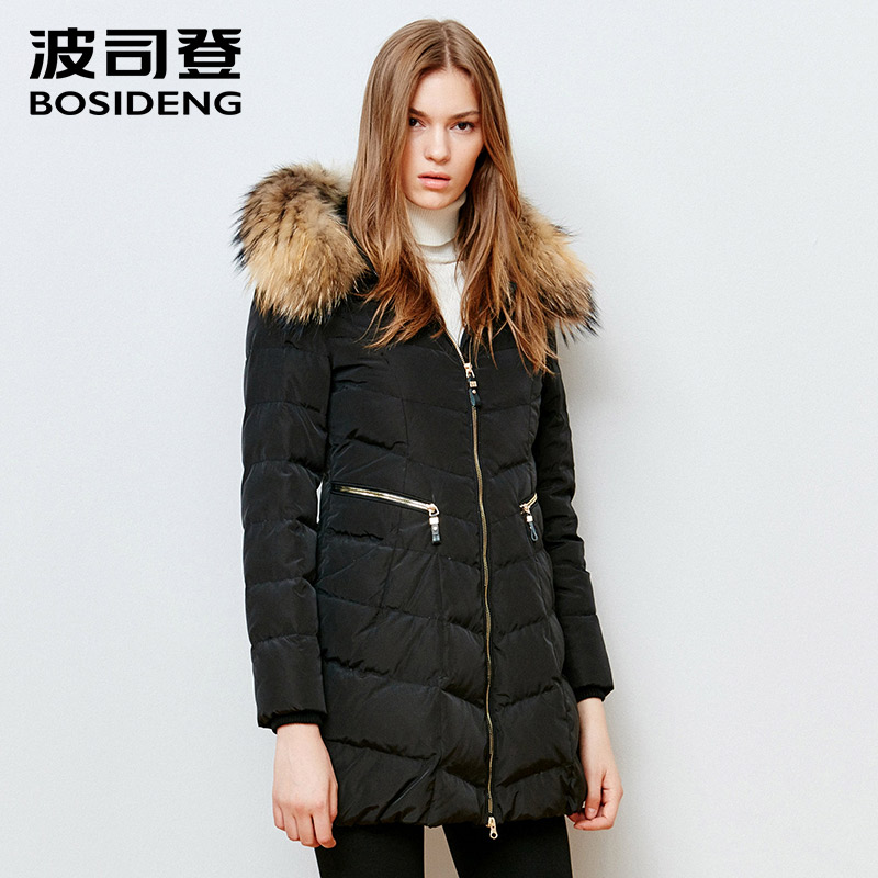 bosideng winter   down   jacket natural fur collar thicken   down     coat   long parka slim zipper high quality B1501224