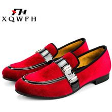 New Fashion Men Velvet Dress Shoes  Men's Party and Wedding Handmade Loafers Gold Buckle Men' Flats