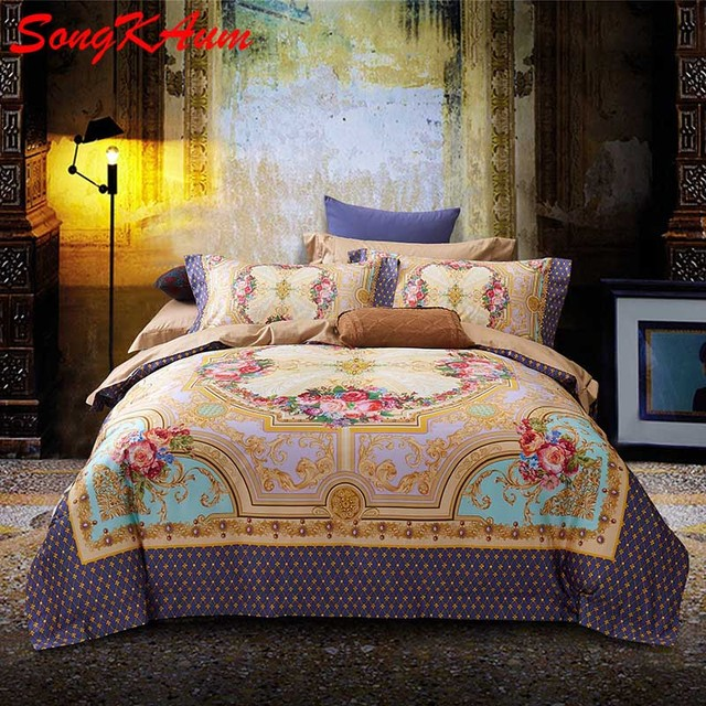 Luxury Tribute Silk Pima Cotton 4Pcs Bedding Set Noble Palace Royal Bed Set  King Duvet Cover