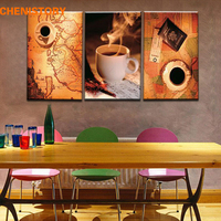 Unframed 3 Panel Vintage Map And Cup Of Coffee Europe Style Home Wall Decor Print Canvas