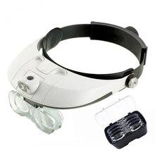 Двойной светодиодный светильник очки лупа, 4 Сменные рассеиватели увеличительные очки для чтения, ювелирное обслуживание, 1X1,5X2X2,5X3,5