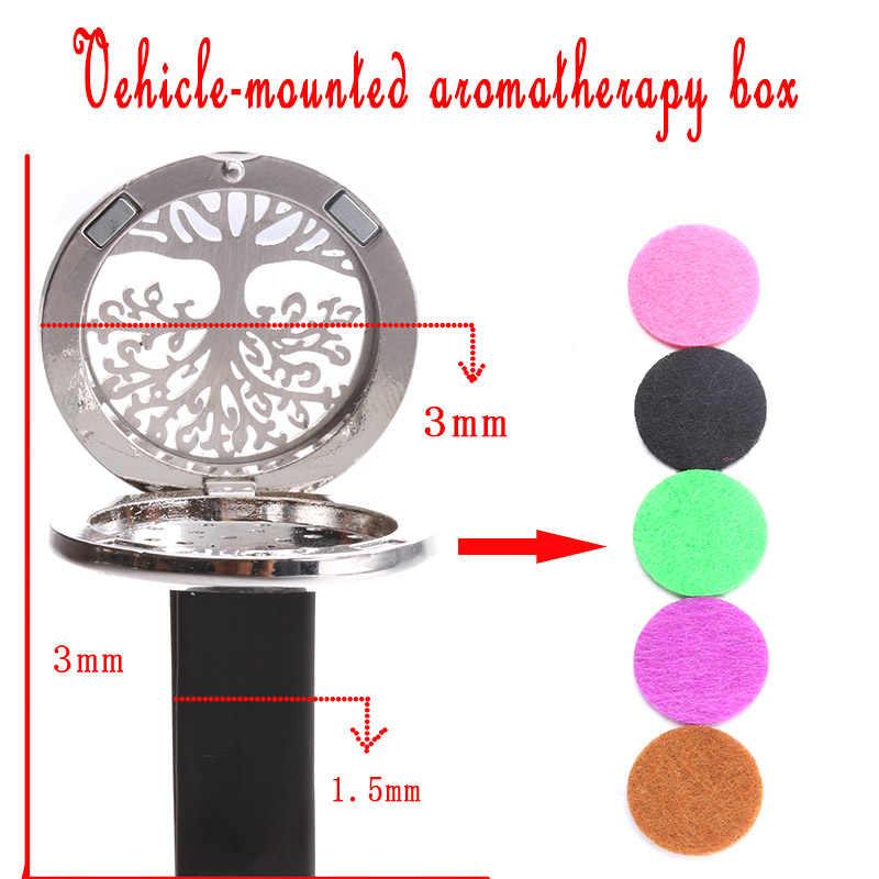 Nouveau support pour voiture de boîte d'aromathérapie en acier inoxydable motif arbre étrange pour pièces automobiles en gros + 1 feutre SC2022