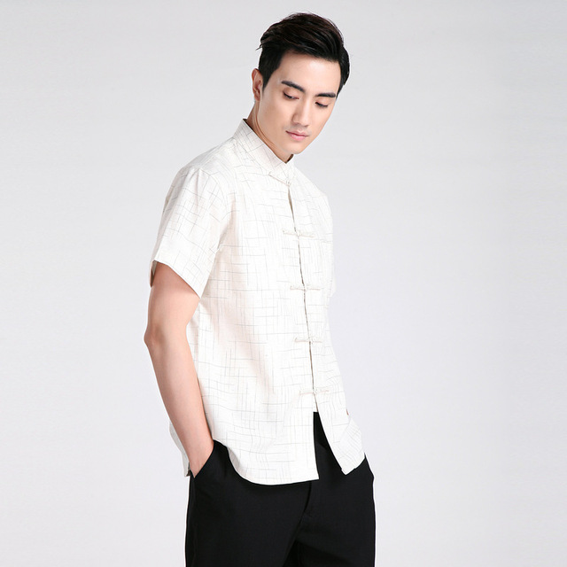 New Fashion Trends Beige Chinese Men's Linen Classic Kung Fu Shirt Chinese Button Costume Tang Suit Size S M L XL XXL XXXL 2602
