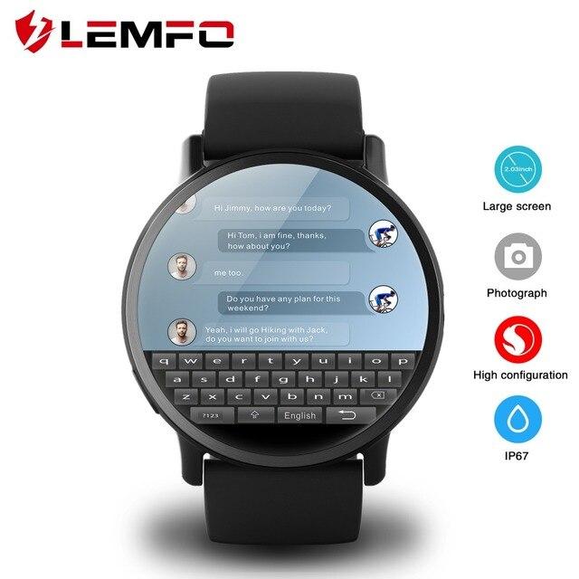 LEMFO LEM X 4G Relógio Inteligente Android 7.1 Com Câmera 8MP GPS 2.03 de polegada Bateria 900 Mah Tela Esporte alça de negócios Para Os Homens