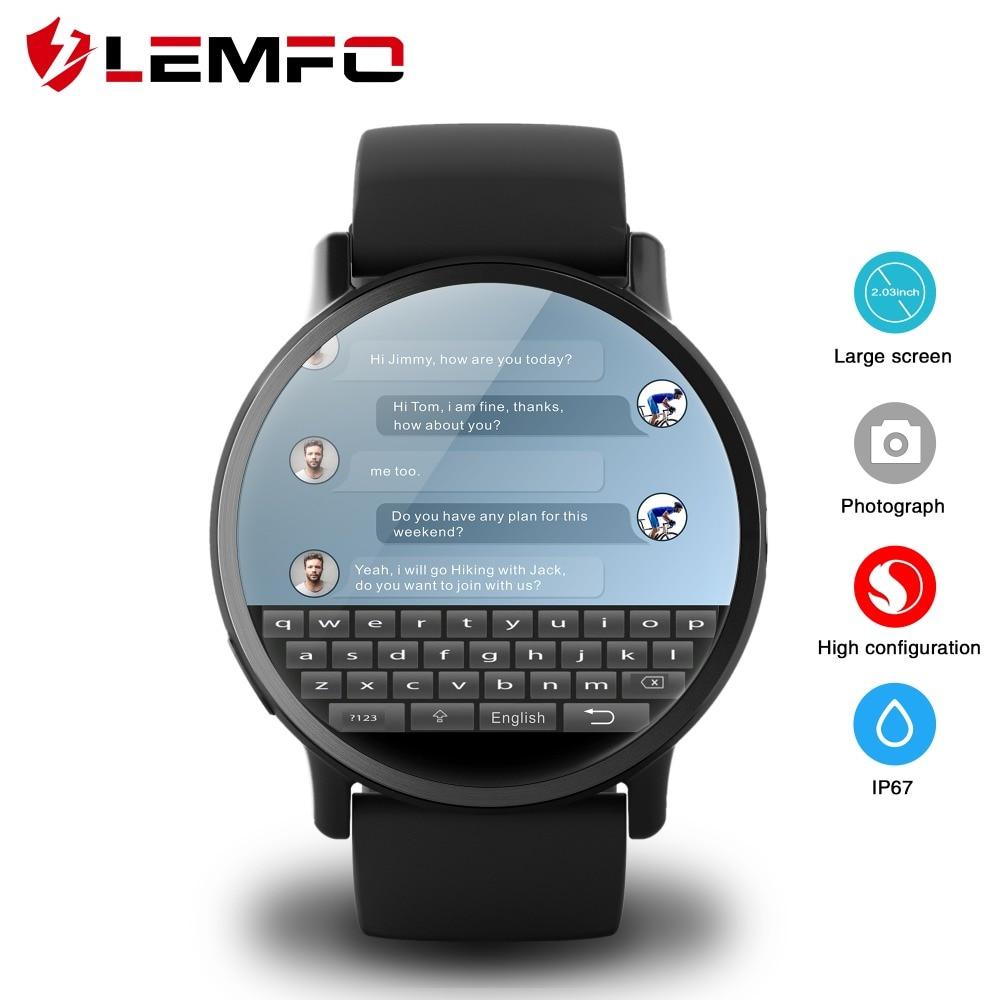LEMFO LEM X 4G montre intelligente Android 7.1 avec 8MP caméra GPS 2.03 pouces écran 900 Mah batterie Sport sangle d'affaires pour hommes