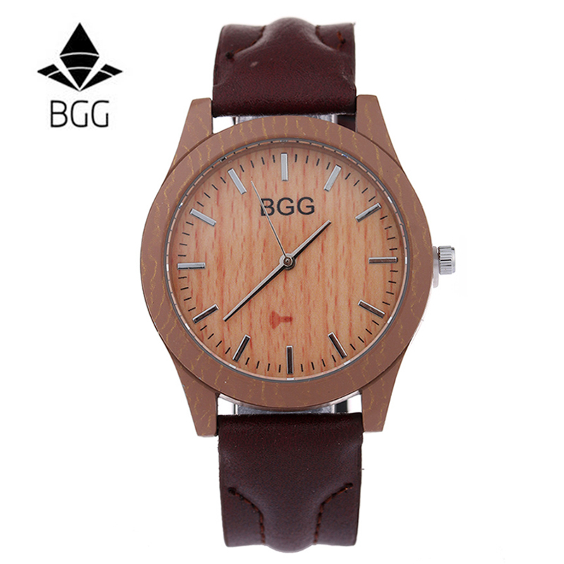2016 font b Wooden b font Men s Wristwatches With Genuine Vintage Leather Band Luxury Brand