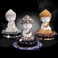 Car Decoration Ceramic Crystal Maitreya Buddha Rhinestone Ornament Perfume Gorgeous Auto Interior Air Freshener Accessories