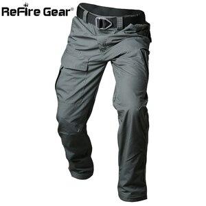 Image 2 - ReFire dişli Rip Stop pamuk su geçirmez taktik pantolon erkekler kamuflaj askeri kargo pantolon Man Multi cepler ordu savaş pantolon