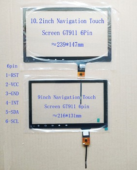 9inch 10.2 inch Navigation Touch Screen 216*131mm 239*147mm GT911 6pin