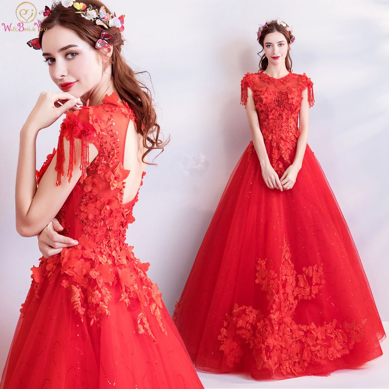 Walk Beside You Red   Prom     Dresses   O-neck Ball Gown Long Floor Length Cap Sleeves Lace Appliques Vestidos De Graduacion 2019