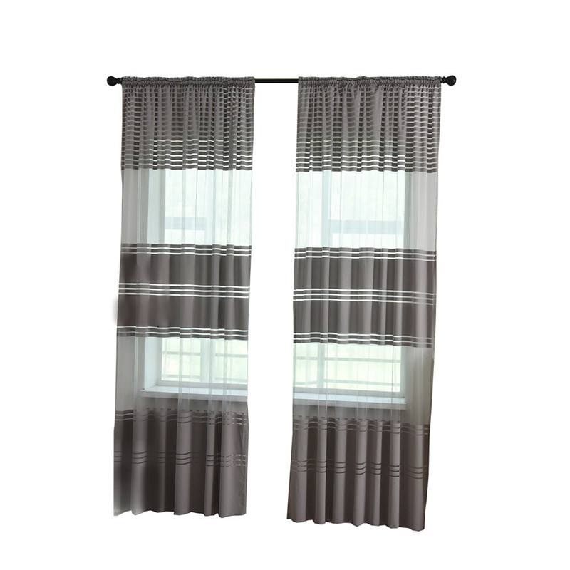 270cm x 100cm Leaves Sheer Curtain Tulle Window Treatment Voile Drape Valance 1 Panel Fabric thread room shower curtain in Curtains from Home Garden