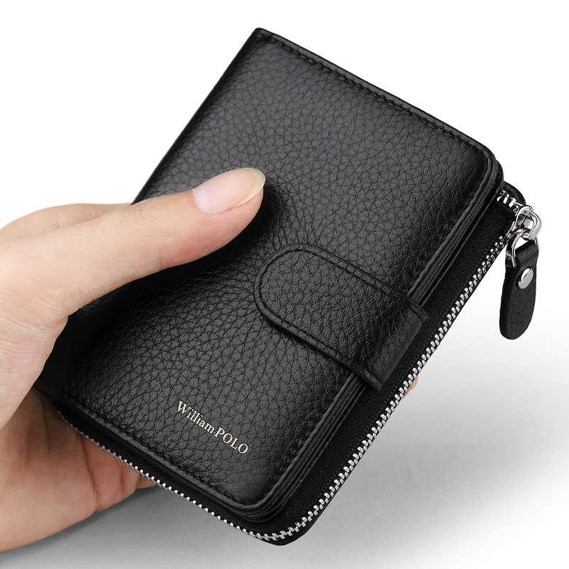 WILLIAMPOLO  Men Wallet Short Accordion Credit Card Holder Purse Genuine Leather Multi Card Organizer Snap Fastener Zip Around