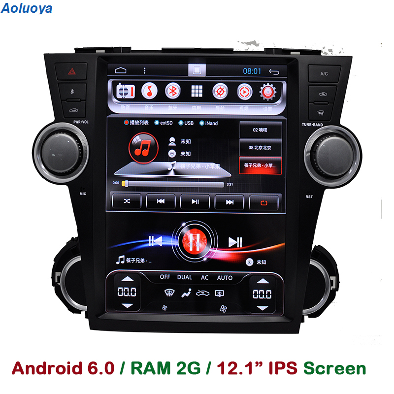 Aoluoya Оперативная память 2 ГБ Android 6.0 dvd-плеер автомобиля для Toyota Highlander 2009-2012 2013 2014 радио GPS навигации мультимедиа WI-FI 3G