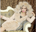 Новый 2015 Зимнее Пальто Женщин Мода Тонкий Куртки И Пальто Длинный Парка Дамы Меховой Воротник Верхняя Одежда