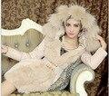 Nuevo 2015 Abrigo de Invierno Las Mujeres de Moda de Lujo Delgado Chaquetas Y Abrigos Larga Parka para Mujer Cuello de Piel prendas de Vestir Exteriores