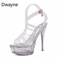 Dwayne 2018 Ultra High Heeled Waterproof Sandals Female Models Catwalk Shoes Womens Nightclub Transparent Sandals