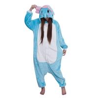 Cartoon Animal Costume Blue Elephant Adult Onesie Unisex Women Men S Pajamas Halloween Christmas Party Cosplay