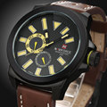 2016 New Fashion Relogio Masculino Date Day Casual Watch Men Sports Watches Military Quartz Hours Leather Wrist Watch Male Clock