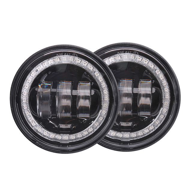 $ US $46.41 pair 30w round led waterproof fog lamp 4.5 inch day light angle eyes 12v motorcycle head led fog light bulb for harley davidson