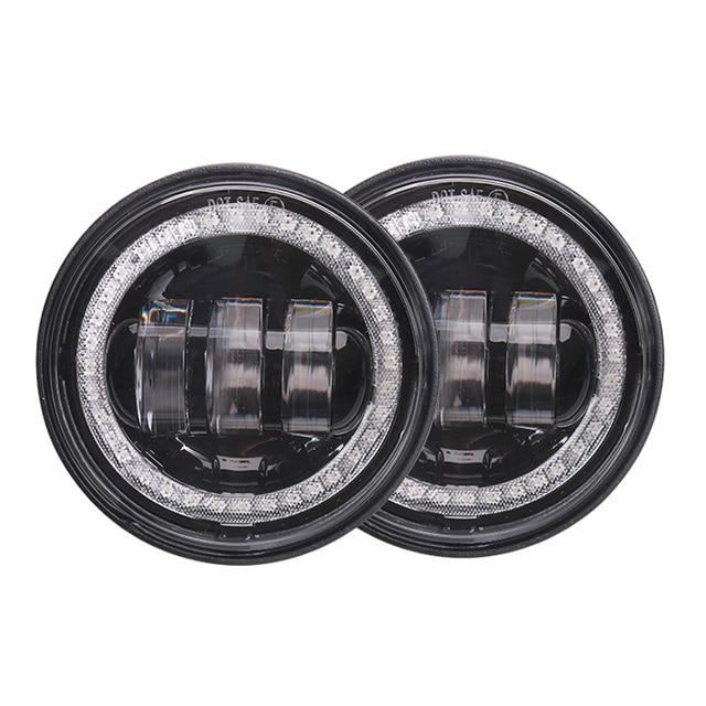 $ US $46.41 pair 30w round led waterproof fog lamp 4.5 inch day light angle eyes 12v motorcycle head led fog light bulb for harley davidson