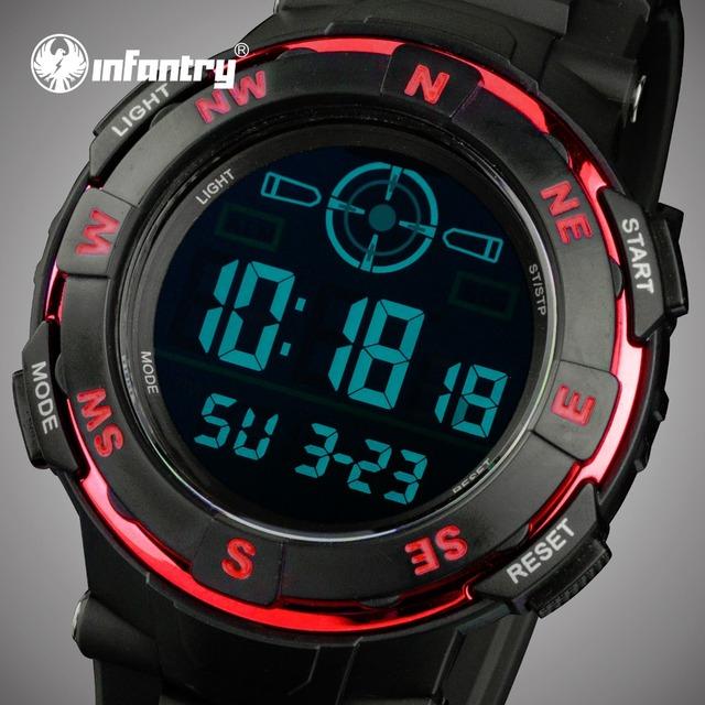 Homens LEVARAM Relógios Digitais Militar Aviador INFANTARIA Rubber Strap Sports Relógios Back Light Relógio Despertador Cronômetro Ao Ar Livre Relojes
