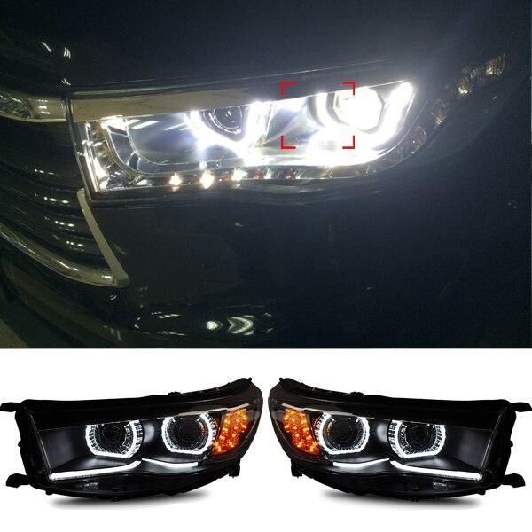 цена на Headlights for Toyota Highlander 2014 2015 New LED Headlight Turn Signal DRL H7 HID Bi-Xenon Lens Low Beam Head Lights