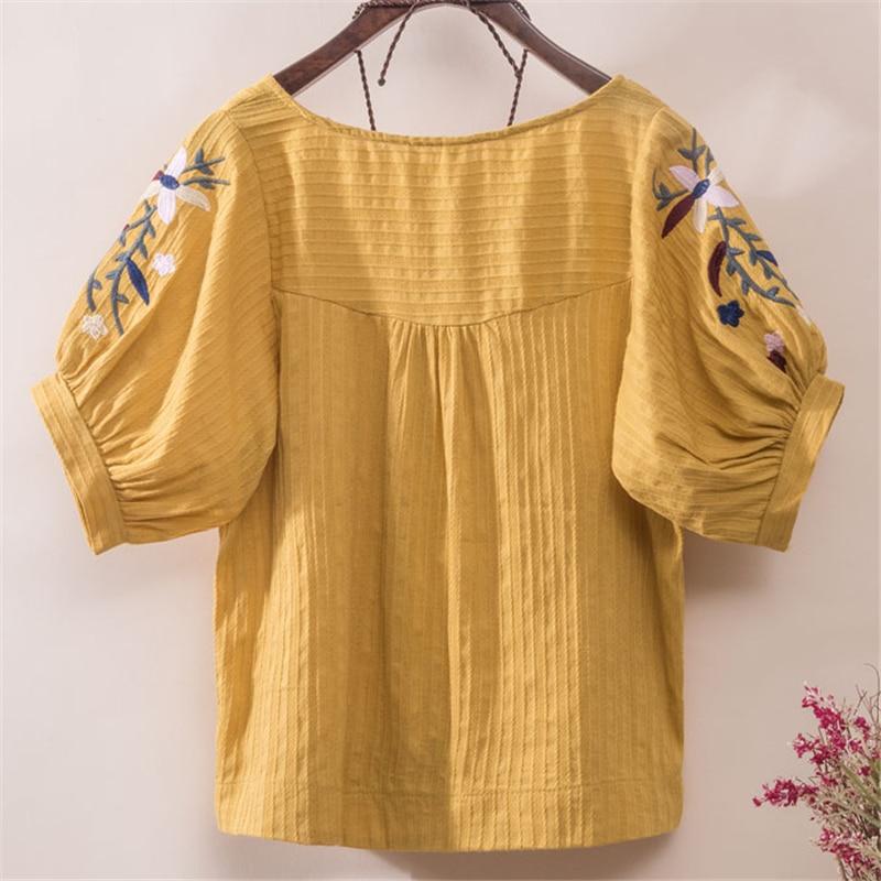 blanco amarillo Camisa Linterna Algodón rosado Cielo Para Blusas Manga Top Blanco Casual Las Suelta Azul Vintage Floral Étnica Mujeres Bordado Px4HAz4qf