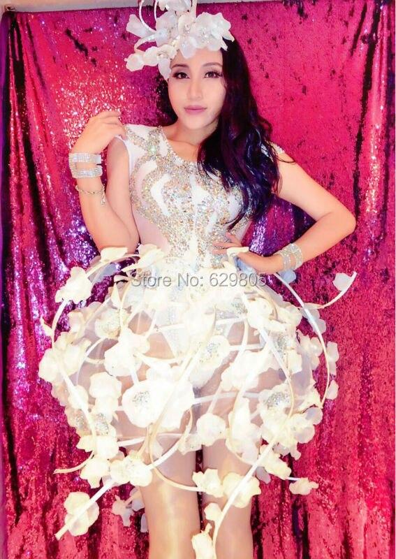 Sexy Flower Vine Skirt Outfit Celebrate Party Rhinestone Bodysuit Women Nightclub Bar Costume Stage Party Female
