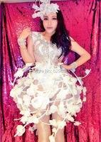 Sexy Flower Vine Skirt Outfit Celebrate Party Rhinestone Bodysuit Women Nightclub Bar Costume Stage Party Female Singer Wear