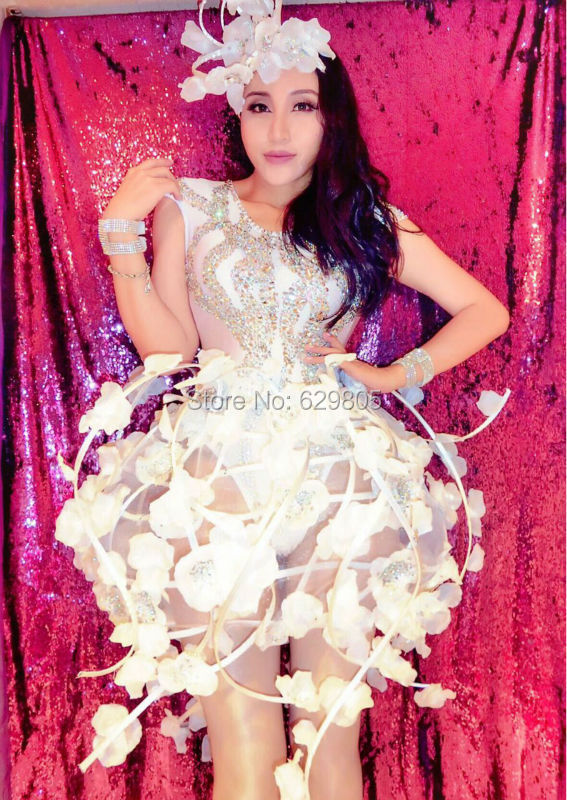 Sexy Flower Vine <font><b>Skirt</b></font> Outfit Celebrate Party Rhinestone <font><b>Bodysuit</b></font> Women Nightclub Bar Costume Stage Party Female Singer Wear image