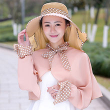 Newly Women Big Brim Foldable Sun Hat UV Sunscreen Summer Beach Cap with Detachable Mask+Sun Protection Clothing FMS19(China)