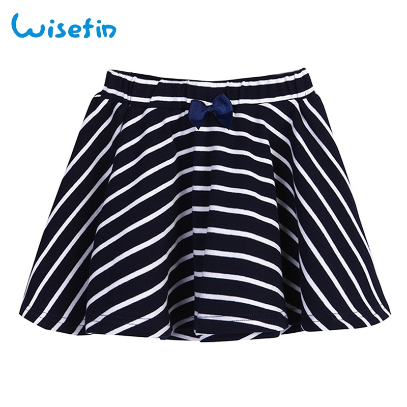 Wisefin Summer Girl Short Skirt Black Stripe Cute Bow A line Baby Clothing Casual Cotton ...