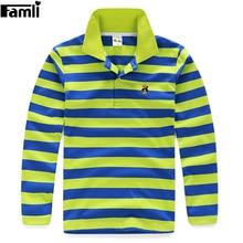 5Y-16Y Teenage Boys Polo Shirt Children Spring Autumn Fashion Striped Turn-down Cotton Long Sleeve T-shirt Tops 6 8 10 12 14 16