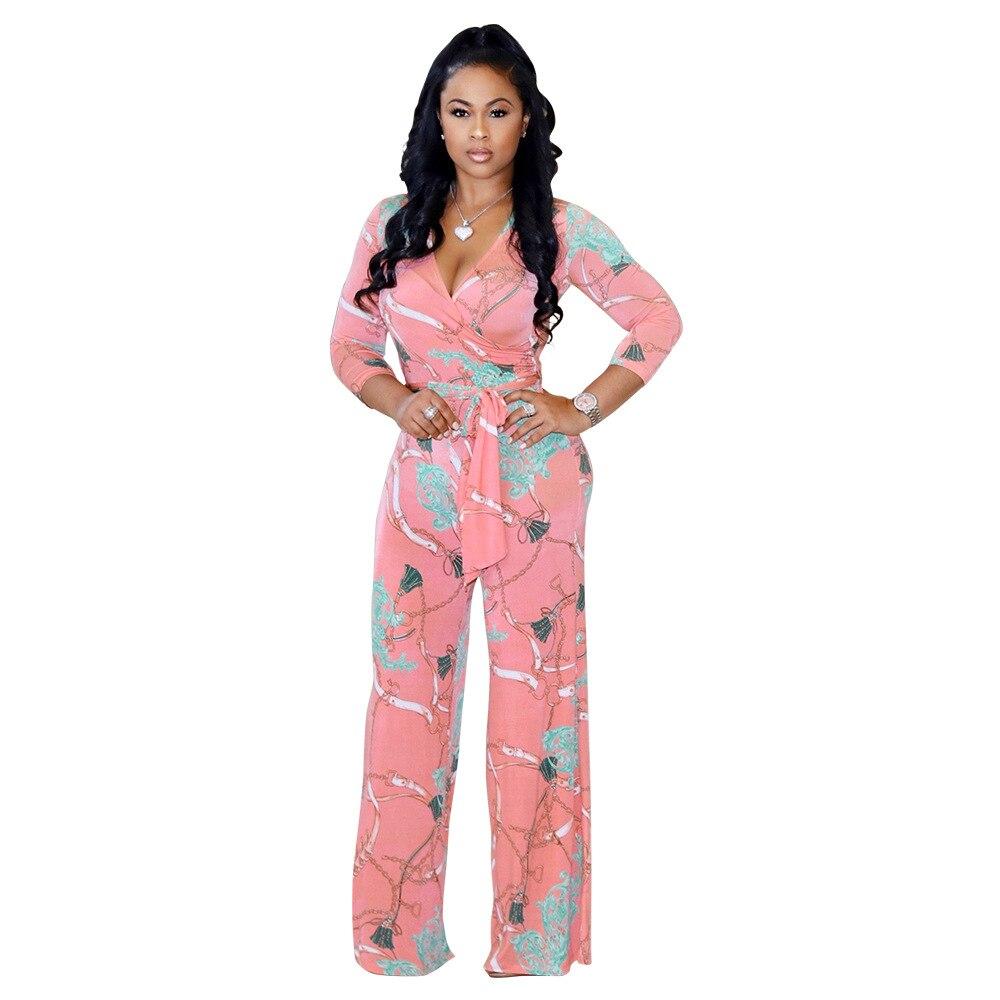 Print sexy jumpsuit Boho Pink rompers women jumpsuit 2018 Elegant summer jumpsuit